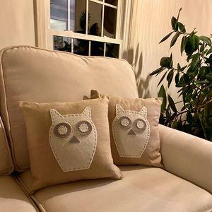 West elm owl  pillows. Set of 2